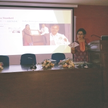 Vasudha Mehta, Co-founder of JAAGRUTI holding the awareness session